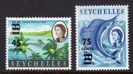 SEYCHELLES - 1965 SURCHARGED STAMPS (2V) FINE MNH ** SG 216-217 - Seychelles (...-1976)