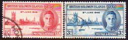 BRITISH SOLOMON ISLANDS 1946 SG #73-74 Compl.set Used Victory - British Solomon Islands (...-1978)