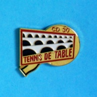 1 PIN'S //  ** PING-PONG / TENNIS DE TABLE / CD 30 / PONT DU GARD / OCCITANIE ** - Tennis De Table