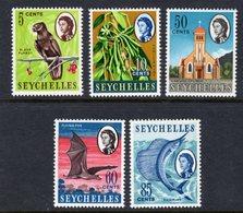 SEYCHELLES - 1967 NEW VALUE DEFINITIVES WMK W12 SET (5V) FINE MNH ** SG 233-237 - Seychelles (...-1976)