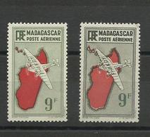 Madagascar P.A. 23a Variété Gris, Cote YT 330€ - Airmail