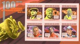 Guinée -  Premieres Courses A Monte-Carlo - Rougier-Chiron-Le Bégue-Vatanen-Loeb-Bouffier - 6v Sheet Neuf/Mint/MNH - Auto's