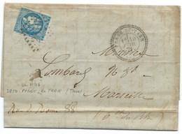 N° 46 CERES SUR LETTRE / EMISSION DE BORDEAUX / PENNE DU TARN POUR MARSEILLE / 1871 / GC 2810  INDICE 14 - Marcophilie (Lettres)