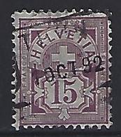 Switzerland 1882 Arms  Mi.57 (THUN 1 OCT 92) - 1882-1906 Coat Of Arms, Standing Helvetia & UPU