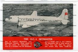 ANA AUstralian National Airways PTY Airline Issue Postcard DC4 Skymaster  Melbourne Victoria - 1946-....: Era Moderna