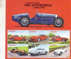 Lesotho  -  The Automobile  - Bugatti-Cisitalia-Dodge-TVR-Lotus-Ferrari-Pegaso  -  6v MS Neuf/Mint/MNH - Motos