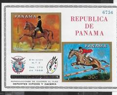 PANAMA - 1968  - GIOCHI OLIMPICI ESTIVI MESSICO - SPORT EQUESTRI - FOGLIETTO NUOVO **NH (MICHEL BL 101) - Estate 1968: Messico