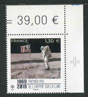 """TIMBRES** De 2019 En Coin De Feuille """"1,30 € - Premer Pas De L'Homme Sur La Lune"""" Avec Repère """"Croix"""" Dans La Marge - Francia"""