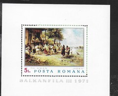ROMANIA - 1971 -T.H.AMAN - HORA -BALKANFILA III -  FOGLIETTO NUOVO ** NH (YVERT BF 85 - MICHEL 84) - Arte