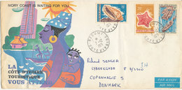 Ivory Coast Cover With Cachet And Topic Stamps Sent To Denmark 7-12-1971 (there Is A Big Tear In The Cachet) - Ivory Coast (1960-...)