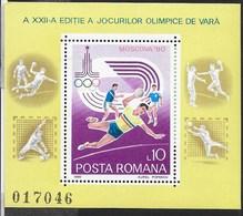 ROMANIA - 1980 - GIOCHI OLIMPICI ESTIVI MOSCA '80 -  FOGLIETTO NUOVO ** NH (YVERT BF 144 - MICHEL 171) - Estate 1980: Mosca