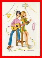 CPSM/gf  Couple De Jeunes Gens Jouant De La Guitare. Illustrateur D. Fracassi...J579 - Couples