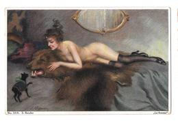 S Bender 1218 La Femme Nue Nu Adulte Chat Noir  Non Circulée - Autres Illustrateurs