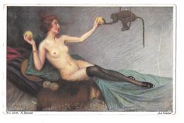 S Bender 1219 La Femme Nue Nu Adulte Jouant Avec Un Singe  Non Circulée - Autres Illustrateurs