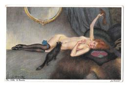 S Bender 1219 La Femme Nue Nu Adulte Jouant Avec Un écurueil Et Un Chat  Non Circulée - Autres Illustrateurs