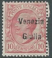 1918-19 VENEZIA GIULIA EFFIGIE 10 CENT MNH ** - RA30-8 - 8. WW I Occupation