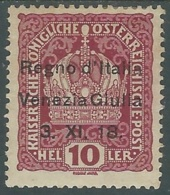 1918 VENEZIA GIULIA 10 H MH * - RA31 - 8. WW I Occupation