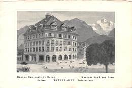 BANQUE CANTONALE DE BERNE, INTERLAKEN ~ AN OLD POSTCARD #95406 - BE Berne