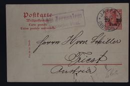 Deutschland Postcarte Aus Jerusalem Violet  K1 Deutsche Post To Triest 1907P10 - Offices: Turkish Empire