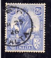 MALTA 1922 1926 EMBLEM EMBLEMA PENCE 2p 1/2 USATO USED OBLITERE' - Malta