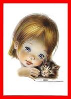 CPSM/gf  Illustrateur CANO.  Fillette Et Son Petit Chaton, Carte Double...J583 - Illustratori & Fotografie