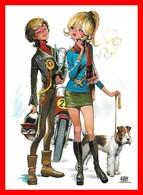 CPSM/gf  Illustrateur ?.  Jeune Motard Et Jeune Fille Et Son Chien (Fox Terrier)...J585 - Illustratori & Fotografie