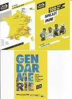 Tour De France Cyclisme 3 Cartes Du Tour 2019 (la Carte Du Trajet La Gendarmerie Et Les 100 Ans Du Maillot Jaune) - Ciclismo