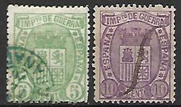 ESPAGNE   -   Impot De Guerre   -  1875 .   Y&T N° 3 / 4  Oblitérés. - Kriegssteuermarken