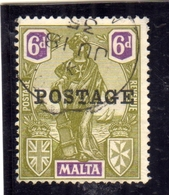 MALTA 1926 EMBLEM POSTAGE OVERPRINTED EMBLEMA 6p USATO USED OBLITERE' - Malta