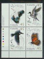 Mwe0945 FAUNA VOGELS VLINDERS VLEERMUIS EEND LANDKAART BAT BIRDS BUTTERFLIES VÖGEL MAP MIGRATION CANADA 1995 PF/MNH - Briefmarken