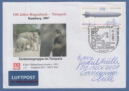 Zeppelin-Marke # 2589 Als EF Auf Lp-Brief -> Chile. So-O Hamburg Zoo Hagenbeck  - [7] Repubblica Federale