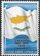 CYPRUS 1980 20th Anniversary Of Republic Of Cyprus - 40m Cyprus Flag MNH - Chipre (República)