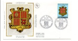 ANDORRE FDC 1987 ARMOIRIES VISITE DU CO-PRINCE - FDC