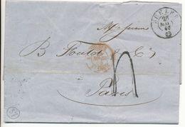 BUHLER LAC 1860 3 SUISSE 3 ST LOUIS ROUGE CACHET D'ENTREE TAXE 4 TAMPON => PARIS - Postmark Collection (Covers)