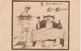 """CPA:SERVEUSE RESTAURANT SEINS NUS """"LES PÊCHES NATURE DU CAPUCIN GOURMAND"""" ILLUSTRÉ PAR RENÉ V.DEPARDAY VITTEL (88) - Publicité"""