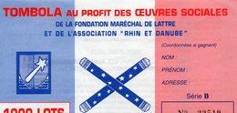 """Document- Billet De Tombola- """" Fondation Mal DE LATTRE """"- - Biglietti Della Lotteria"""
