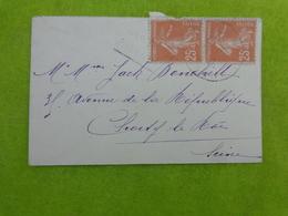 Timbres Sur Enveloppe (la Semeuse 25c) - Marcophilie (Lettres)
