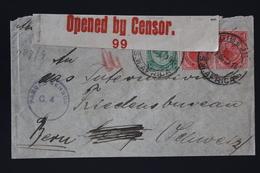 South African Occupation Of Southwest Africa Forerunner 27-10-1916 GIBEON->Bern Peace Bureau  Censored - Südafrika (...-1961)