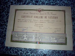 Vieux Papiers  SNCF Train   Certificat Scolaire De Natation Fait à LE BOURGET En 1930  Par La SNCFregion Du Nord En 1942 - Ferrovie
