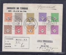 Enveloppe Locale Journee Du Timbre 1946 Metz Recommandée - Briefe U. Dokumente