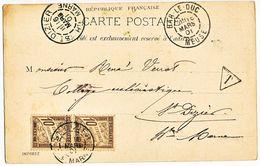 HAUTE MARNE CP 1901 ST DIZIER SUR TAXE CP ORIGINE BAR LE DUC MEUSE - Marcophilie (Lettres)