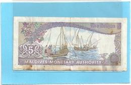 MALDIVES MONETARY AUTHORITY . 5 RUFIYAA .  7-10-1983 . N° A529658 . 2 SCANES - Maldiven