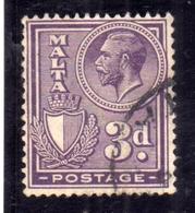 MALTA 1926 1927 KING GEORGE V RE GIORGIO 3p USATO USED OBLITERE' - Malta
