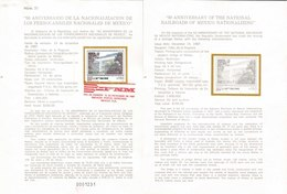 V) 1987 MEXICO, 50 ANNIVERSARY OF THE NATIONAL RAILROADS OF MEXICO NATIONALIZING, FDB - Mexico