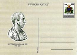 SAN MARINO - 1981 Cent. BARTOLOMEO BORGHESI Numismatico Ed Epigrafista Cartolina Postale Nuova - Altri