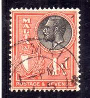 MALTA 1930 KING GEORGE V RE GIORGIO 4p USATO USED OBLITERE' - Malta