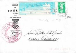 TP N° 2823 Et 0,30 Fr De Distributeur Sur Enveloppe De La Mairie De Trelly - Marcophilie (Lettres)