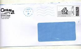 Lettre Flamme Muette Bleue Double Vague Sur  Sur Timbre En Ligne  Maison Euro - Marcophilie (Lettres)