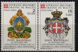 PIA - SMOM - 1986 : Convenzione Postale Con La Repubblica Dell' Honduras   - (SAS  A25-A26) - Sovrano Militare Ordine Di Malta