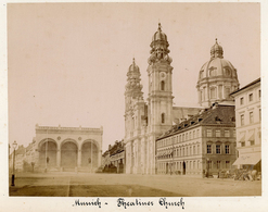 Albumen Photograph - Munich Theatine Church GERMANY - C.1890s (22 X 16cm) - Antiche (ante 1900)